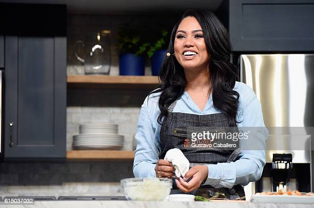 Ayesha Curry speaks onstage during the Grand Tasting presented by ShopRite featuring Samsung culinary demonstrations presented by MasterCard at the...