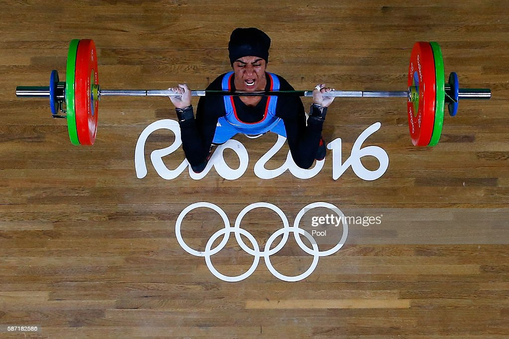 Ayesha Shahriyar M. Albalooshi of United Arab Emirates competes during the Women's 58kg Group B weightlifting contest on Day 3 of the Rio 2016 Olympic Games at the Riocentro - Pavilion 2 on August 8, 2016 in Rio de Janeiro, Brazil.
