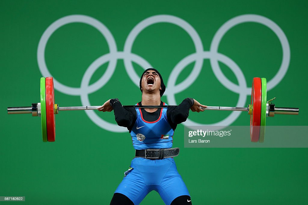 Ayesha Shahriyar M Albalooshi of United Arab Emirates competes during the Women's 58kg Group B weightlifting contest on Day 3 of the Rio 2016 Olympic...