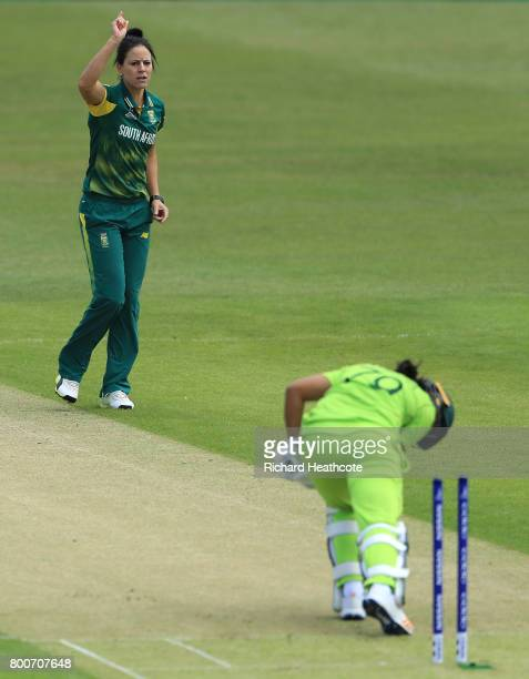 Ayesha Zafar of Pakistan is bowled out by Marizanne Kapp of South Africa during the ICC Women's World Cup group match between Pakistan and South...