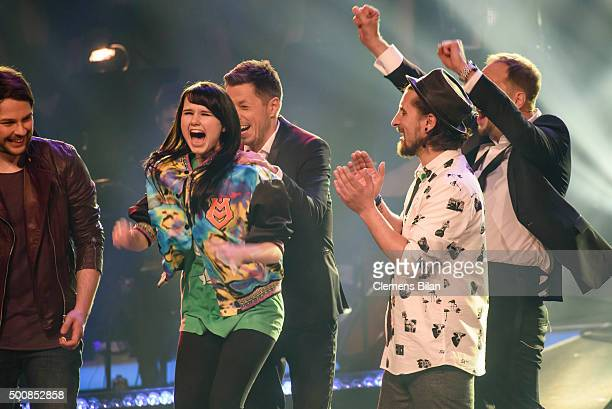 Ayke Witt JamieLee Kriewitz Michi Beck Tobias Vorwerk and Smudo react on stage during the 'The Voice Of Germany Semi Final' on December 10 2015 in...