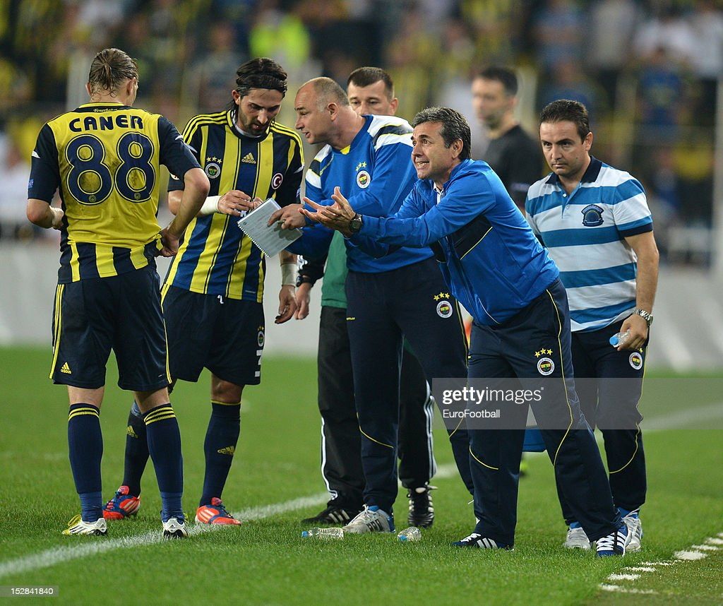 <a gi-track='captionPersonalityLinkClicked' href=/galleries/search?phrase=Aykut+Kocaman&family=editorial&specificpeople=7156561 ng-click='$event.stopPropagation()'>Aykut Kocaman</a>, coach of Fenerbahce SK issues instructions during the UEFA Europa League group stage match between Fenerbahce SK and Olympique de Marseille on September 20, 2012 at Sukru Saracoglu in Istanbul, Turkey.