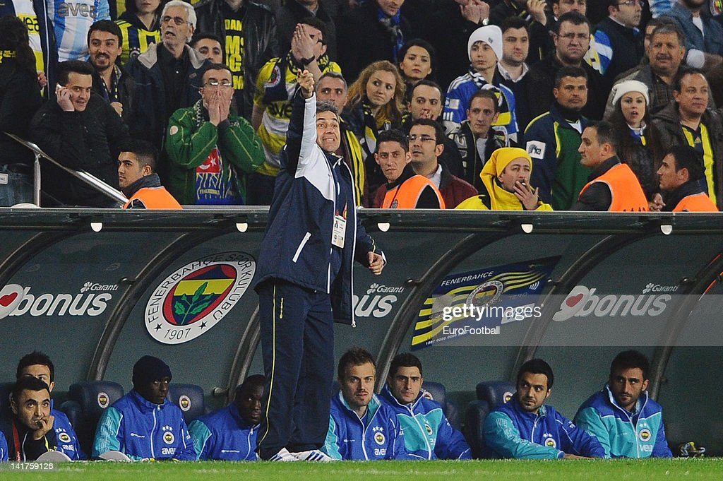 <a gi-track='captionPersonalityLinkClicked' href=/galleries/search?phrase=Aykut+Kocaman&family=editorial&specificpeople=7156561 ng-click='$event.stopPropagation()'>Aykut Kocaman</a>, coach of Fenerbahce SK looks on during the Turkish Spor Toto Super Lig match between Fenerbahce SK and Galatasaray AS held on March 17, 2012 at the Sukru Saracoglu Stadium in Istanbul, Turkey.