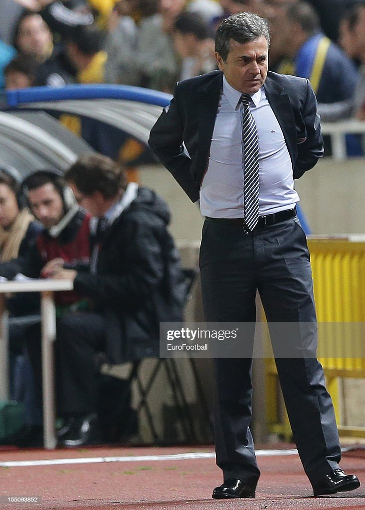 <a gi-track='captionPersonalityLinkClicked' href=/galleries/search?phrase=Aykut+Kocaman&family=editorial&specificpeople=7156561 ng-click='$event.stopPropagation()'>Aykut Kocaman</a>, coach of Fenerbahce SK looks on during the UEFA Europa League group stage match between AEL Limassol FC and Fenerbahce SK held on October 25, 2012 at the GSP Stadium, in Nicosia, Cyprus.