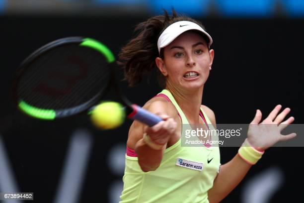 Ayla Aksu of Turkey returns the ball to Basak Eraydin of Turkey during the TEB BNP Paribas Istanbul Cup women's tennis match at Garanti Koza Arena in...