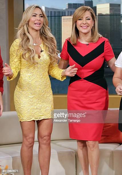 Aylin Mujica and Ana Maria Canseco appear on the set of Telemundo's morning show 'Un Nuevo Dia' at Telemundo Studio on November 22 2013 in Miami...