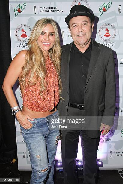 Aylin Mujica and Ruben Blades backstage at the Latin GRAMMY Acoustic Sessions 2013 Miami at Ice Palace Film Studios on November 7 2013 in Miami...