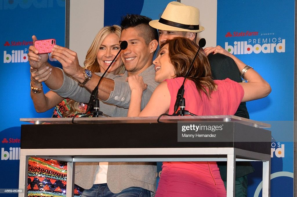 Aylin Mujica, Chino y Nacho and Laura Flores attends 2014 Billboard Latin Music Awards Press Conference to announce nominations at Gibson Miami Showroom on February 5, 2014 in Miami, Florida.