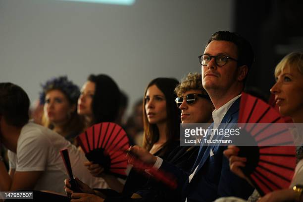 Aylin Tezel and Tim Bendzko sit in the front row at the runway during the Michalsky Style Nite 2012 Show at the MercedesBenz Fashion Week...