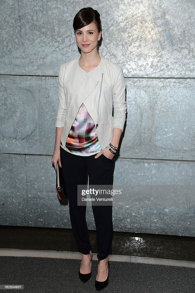 Aylin Tezel attends the Emporio Armani fashion show as part of Milan Fashion Week Womenswear Fall/Winter 2013/14 on February 24, 2014 in Milan, Italy.