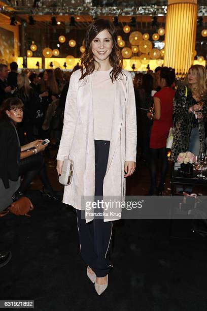 Aylin Tezel attends the VIP cocktail reception after the Marc Cain fashion show A/W 2017 at Deutsche Telekom representation on January 17 2017 in...