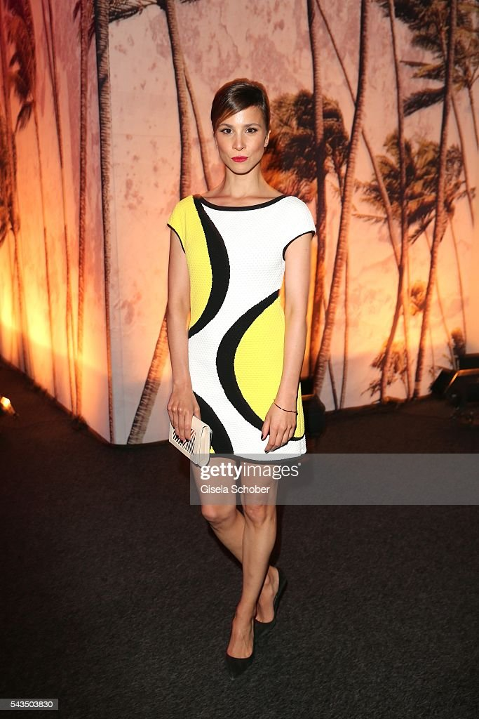 <a gi-track='captionPersonalityLinkClicked' href=/galleries/search?phrase=Aylin+Tezel&family=editorial&specificpeople=2348122 ng-click='$event.stopPropagation()'>Aylin Tezel</a> during the Marc Cain fashion show spring/summer 2017 at CITY CUBE Panorama Bar on June 28, 2016 in Berlin, Germany.