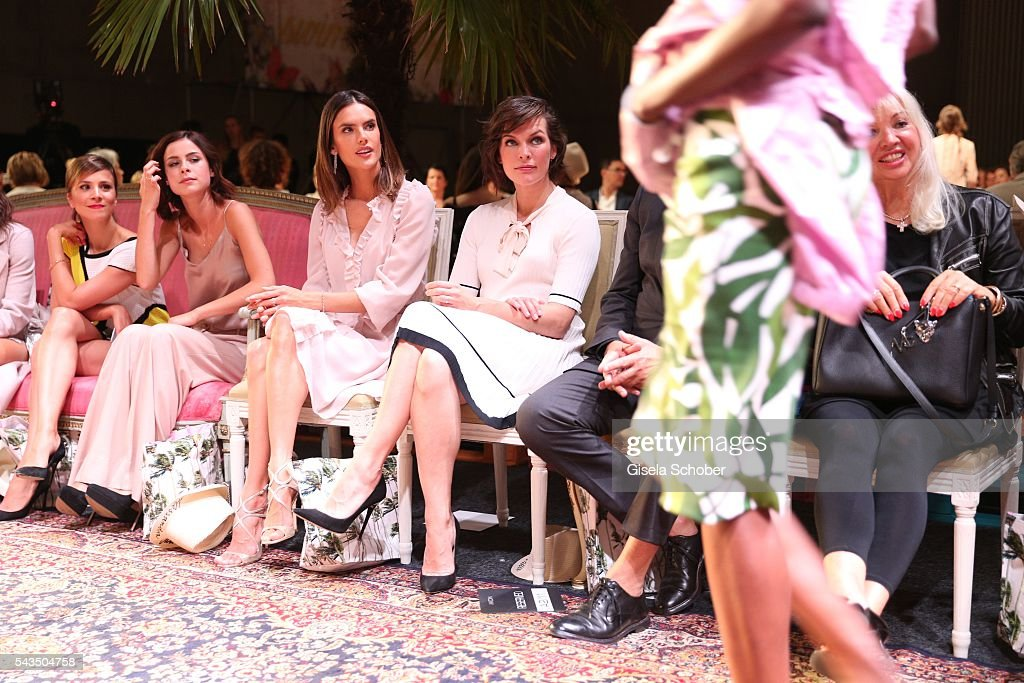 Aylin Tezel, Lena Meyer-Landrut, Alessandra Ambrosio and Milla Jovovich during the Marc Cain fashion show spring/summer 2017 at CITY CUBE Panorama Bar on June 28, 2016 in Berlin, Germany.