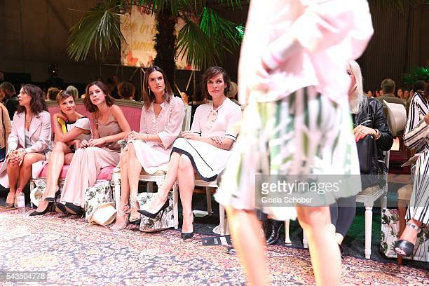 Aylin Tezel Lena MeyerLandrut Alessandra Ambrosio and Milla Jovovich during the Marc Cain fashion show spring/summer 2017 at CITY CUBE Panorama Bar...