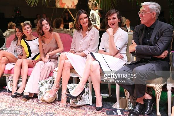 Aylin Tezel Lena MeyerLandrut Alessandra Ambrosio Milla Jovovich and Helmut Schlotterer Founder and CEO of Marc Cain during the Marc Cain fashion...