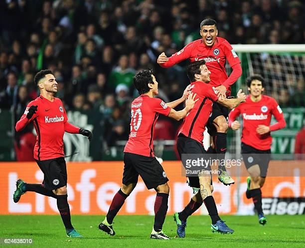 Aymane Barkok of Frankfurt celebrates scoring his goal during the Bundesliga match between Werder Bremen and Eintracht Frankfurt at Weserstadion on...