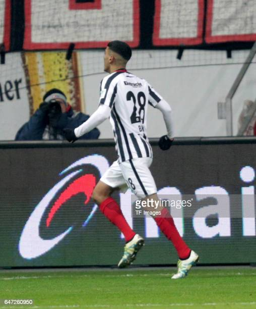Aymane Barkok of Frankfurt celebrates the goal for his team with his teammates during the Bundesliga match between Eintracht Frankfurt and 1 FSV...