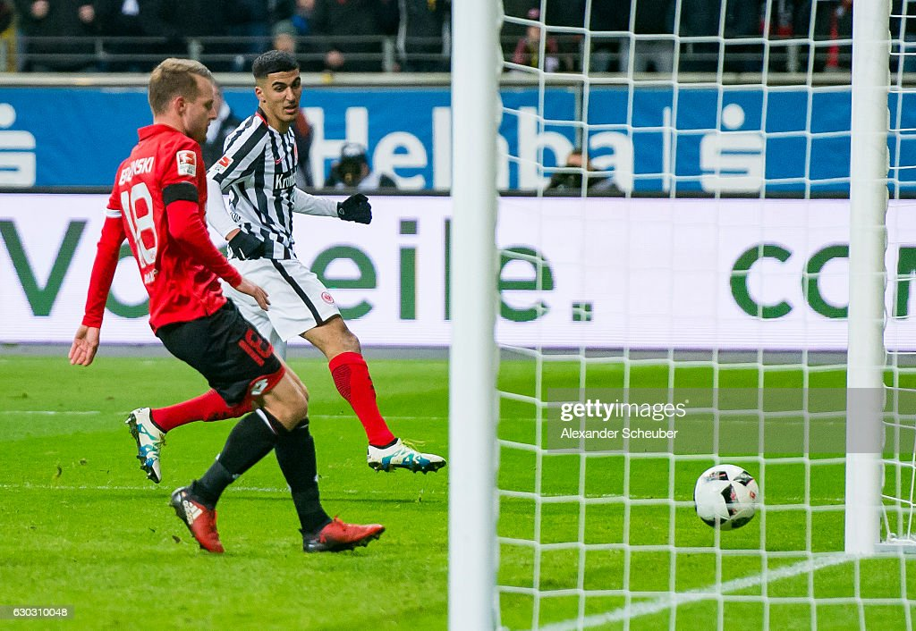 Aymane Barkok of Frankfurt scores the second goal for his team during the Bundesliga match between Eintracht Frankfurt and 1. FSV Mainz 05 at Commerzbank-Arena on December 20, 2016 in Frankfurt am Main, Germany.