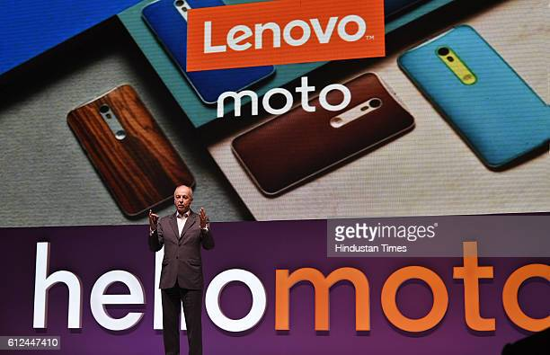Aymar de Lencquesaing SVP and CoPresident Mobile Business Group Lenovo Chairman and President Motorola Mobility during the launch of Moto Z Moto Z...