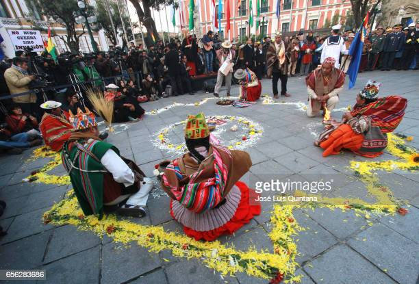 Aymara indigenous participate in a vigil and rituals to the Pachamama organised by different social organizations in support to the delivery of the...