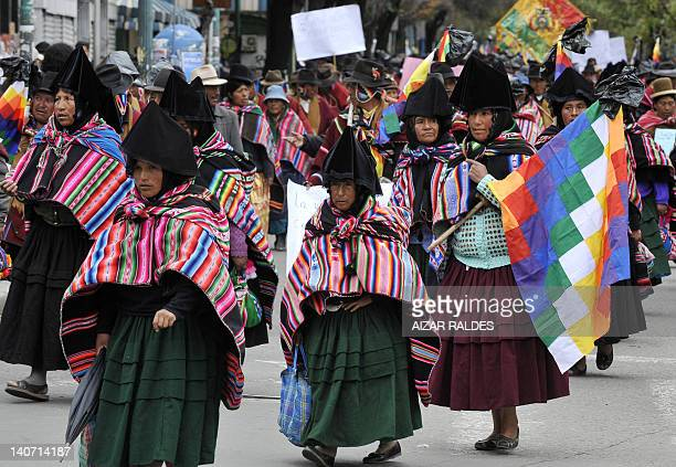 Aymara natives march along the streets of La Paz on March 5 2012 demanding the Congress to institute the death penalty for murderers and rapists AFP...