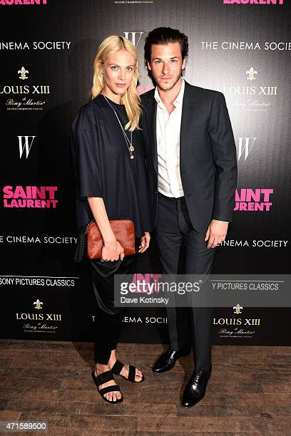 Aymeline Valade and Gaspard Ulliel attend Sony Pictures Classics' screening of 'Saint Laurent' hosted by The Cinema Society with Louis XII Cognac and...