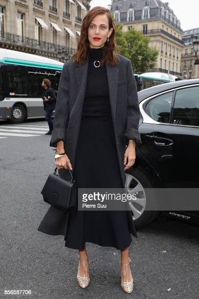 Aymeline Valade arrives at the Stella McCartney show as part of the Paris Fashion Week Womenswear Spring/Summer 2018 on October 2 2017 in Paris France