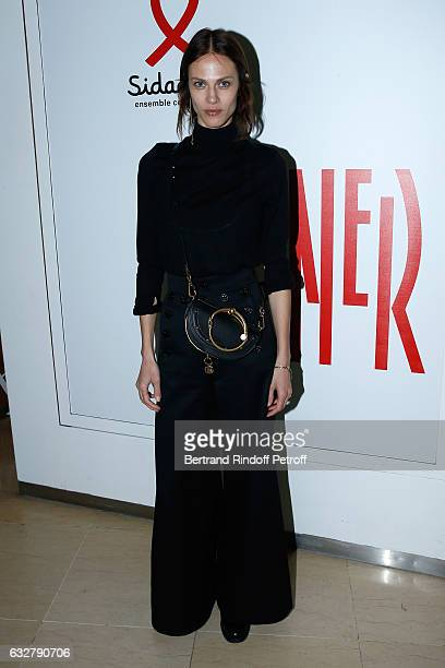Aymeline Valade attends the Sidaction Gala Dinner 2017 Haute Couture Spring Summer 2017 show as part of Paris Fashion Week on January 26 2017 in...