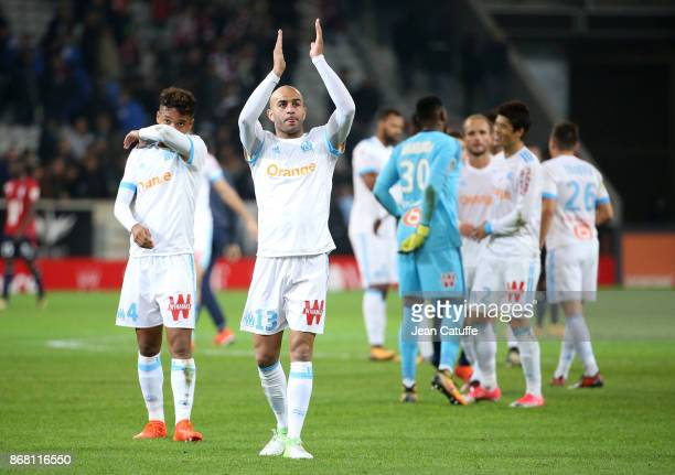 Aymen Abdennour of OM salutes the fans following the French Ligue 1 match between Lille OSC and Olympique de Marseille at Stade Pierre Mauroy on...