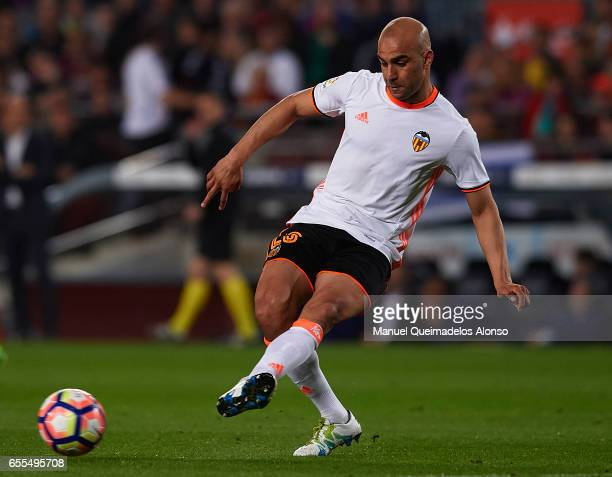 Aymen Abdennour of Valencia in action during the La Liga match between FC Barcelona and Valencia CF at Camp Nou Stadium on March 19 2017 in Barcelona...