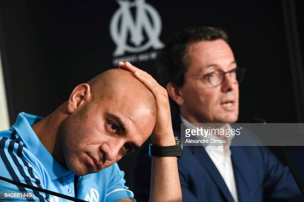 Aymen Abdenour and Jacques Henri Eyreaud President of Marseille during press conference on August 30 2017 in Marseille France