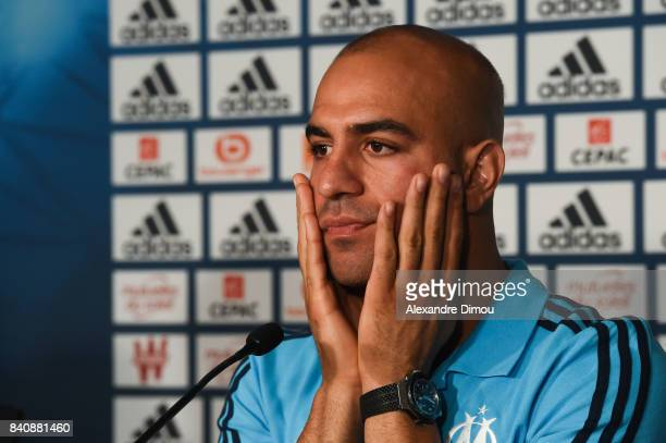 Aymen Abdenour of Marseille during press conference on August 30 2017 in Marseille France