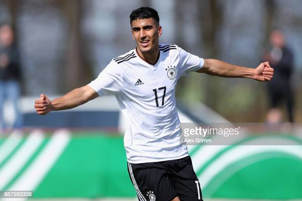 Aymen Barkok of Germany celebrates his team's first goal during the UEFA Elite Round match between U19 Germany and U19 Serbia at Sportpark on March...