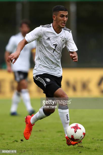 Aymen Barkok of Germany in action during the international friendly U20 match between U20 Germany and U20 Switzerland at Edmund Plambeck Stadion on...