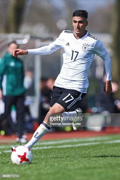 Aymen Barkok of Germany in action with the ball during the UEFA Under19 European Championship qualifiers between U19 Germany and U19 Cyprus on March...