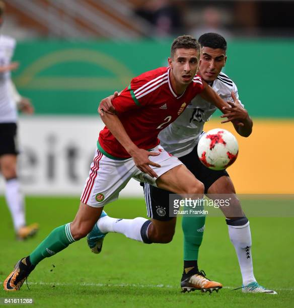 Aymen Barkok of Germany U21 is challenged by Donat Szivacski of Hungary 21 during the International friendly match between Germany U21 and Hungary...