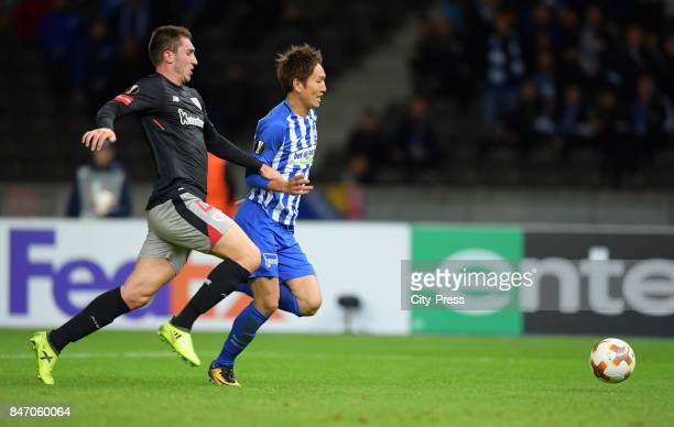 Aymeric Laporte of Athletic Bilbao and Genki Haraguchi of Hertha BSC during the game between Hertha BSC and Athletic Bilbao on september 14 2017 in...