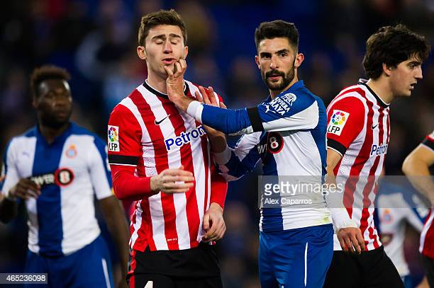 Aymeric Laporte of Athletic Club and Alvaro Gonzalez of RCD Espanyol fight during the Copa del Rey SemiFinal Second Leg match between RCD Espanyol...