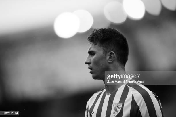 Aymeric Laporte of Athletic Club Bilbao reacts during the La Liga match between Real Sociedad de Futbol and Athletic Club Bilbao at Estadio Anoeta on...