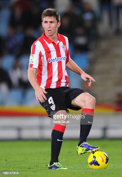 Aymeric Laporte of Athletic Club in action during the start of the La Liga match between Getafe CF and Athletic Club at Coliseum Alfonso Perez...
