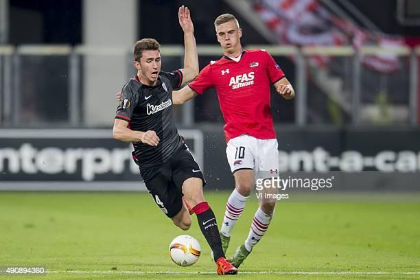 Aymeric Laporte of Athletic de Bilbao Markus Henriksen of AZ Alkmaar during the UEFA Europa League match between AZ Alkmaar and Athletic de Bilbao on...