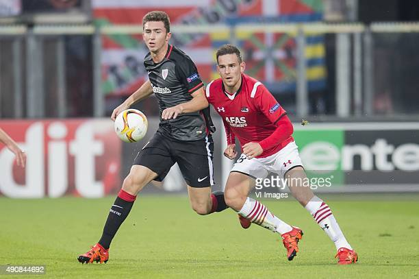 Aymeric Laporte of Athletic de Bilbao Vincent Janssen of AZ Alkmaar during the UEFA Europa League match between AZ Alkmaar and Athletic de Bilbao on...
