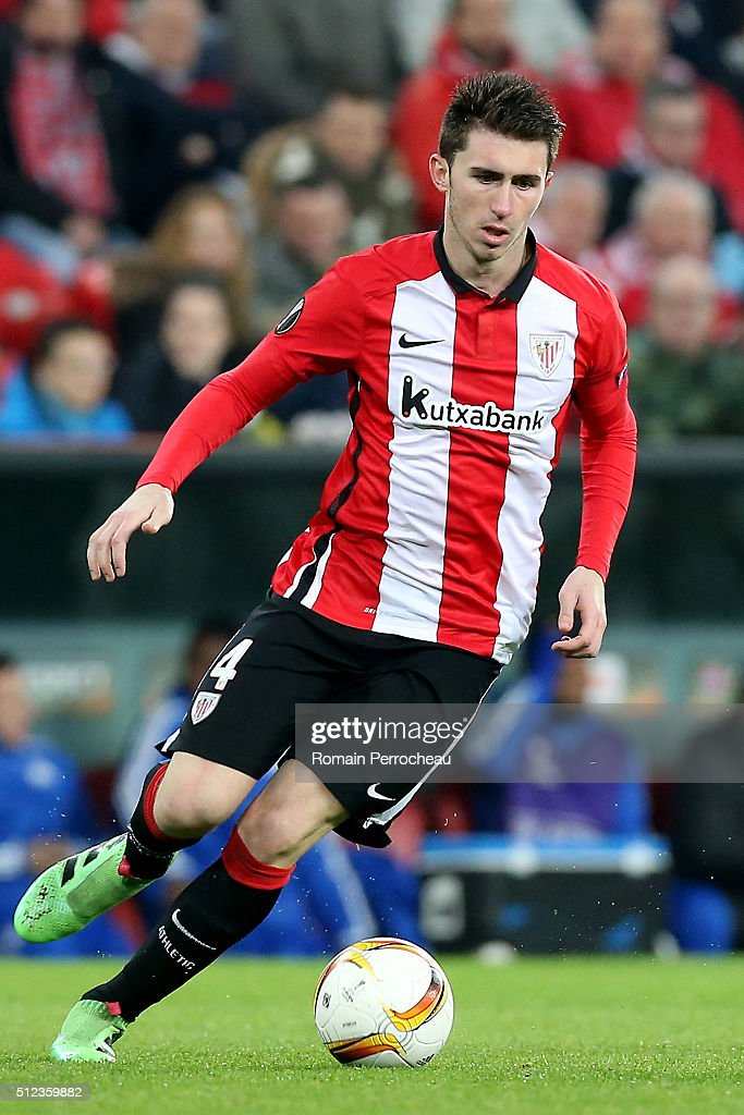 <a gi-track='captionPersonalityLinkClicked' href=/galleries/search?phrase=Aymeric+Laporte&family=editorial&specificpeople=7894319 ng-click='$event.stopPropagation()'>Aymeric Laporte</a> of Bilbao in action during the UEFA Europa League Football round of 32 second leg match between Athletic Bilbao and Olympique de Marseille at San Mames on February 25, 2016 in Bilbao, Spain.