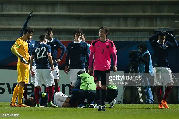 Aymeric Laporte of France injured during the Uefa U21 European Championship qualifier between France and Scotland at Stade Jean Bouin on March 24...