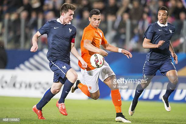 Aymeric Laporte of France U21 Anwar El Ghazi of Netherland U21 Jean Philippe Gbamin of France U21 during the International friendly match between...