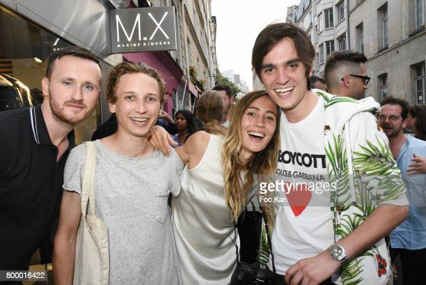 PR Aymeric Watine actor Ernst Umhauer photographer Sidney Carron and Alain Fabien Delon attend the MX Paris Max Simoens Flagship Opening Show Party...