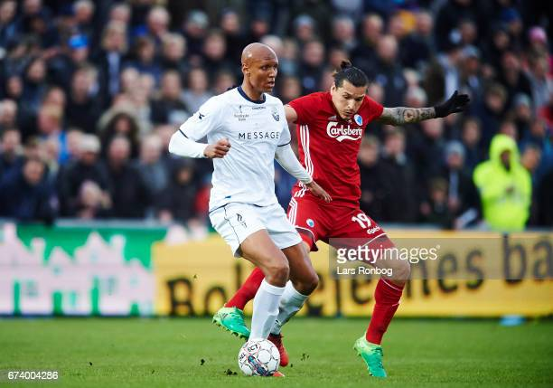 Ayo Simon Okosun of Vendsyssel FF and Federico Santander of FC Copenhagen compete for the ball during the Danish cup DBU Pokalen semfinal match...