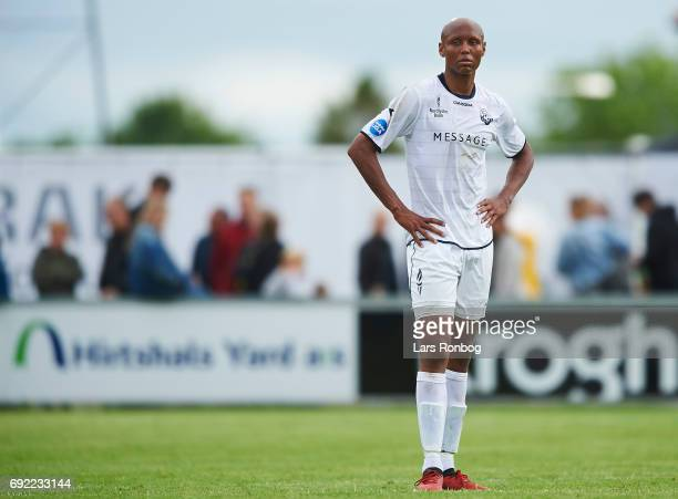 Ayo Simon Okosun of Vendsyssel FF looks dejected after the Danish Alka Superliga Playoff match between Vendsyssel FF and AC Horsens at Bredband Nord...