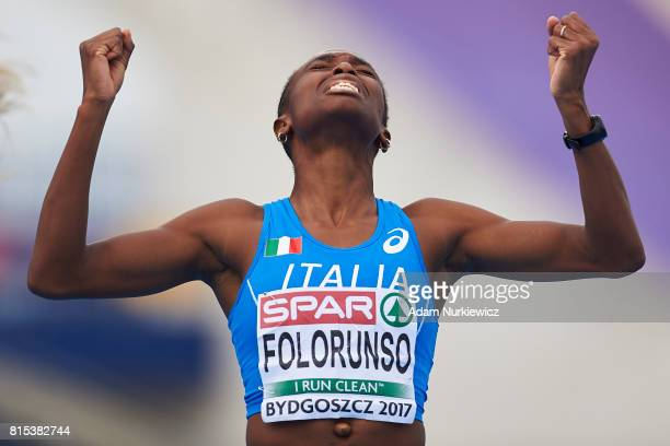 Ayomide Folorunso from Italy celebrates her victory in women's 400m hurdles final during Day 4 of European Athletics U23 Championships 2017 at...