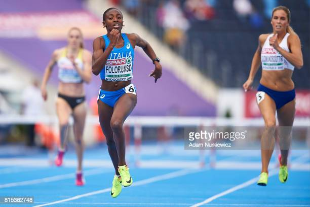 Ayomide Folorunso from Italy competes in women's 400m hurdles final during Day 4 of European Athletics U23 Championships 2017 at Zawisza Stadium on...